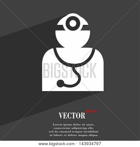 Doctor With Stethoscope Around His Neck Symbol Flat Modern Web Design With Long Shadow And Space For