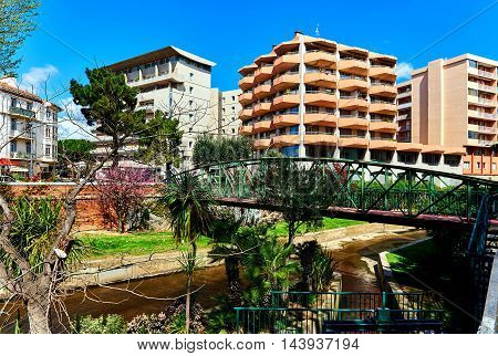 View to the Canal of Perpignan in springtime. Pyrenees-Orientales. France