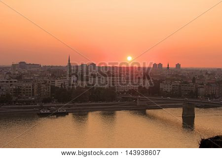 Sunset in Novi Sad, viewed from the Petrovaradin fortress
