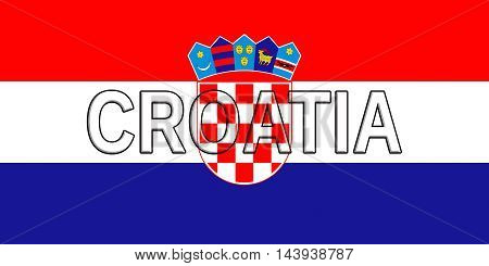Illustration of the flag of Croatia with the country written on the flag