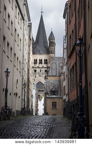 Church Gross St Martin in the historic town center Cologne Germany