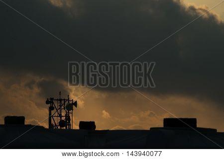Dark clouds at morning. Cityscape at morning