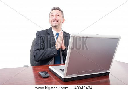 Smiling Lawyer Winking And Praying