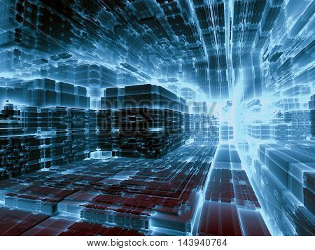 Abstract surreal technology background - computer-generated image. Fractal illustration - 3d render. Digital art: futuristic warehouse, space station or the street of the city of the future. Trendy blue tech or industrial concept.