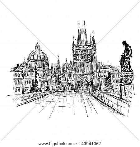 Prague Charles Bridge Czech Republic. Vector sketch