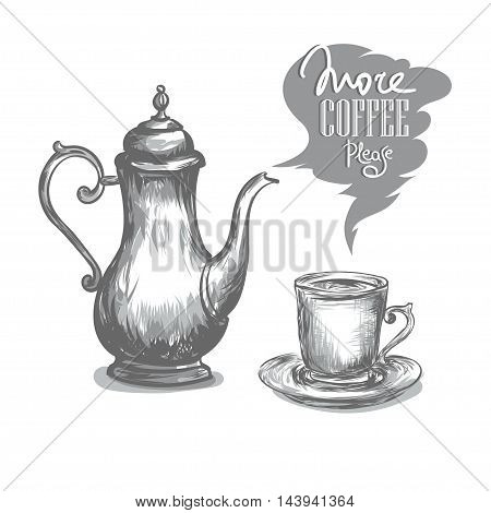 sketch of an antique oriental silver coffeepot and coffee cup