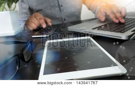 Website Designer Working Digital Tablet And Computer Laptop