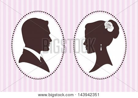 Vector illustration silhouettes of groom and bride