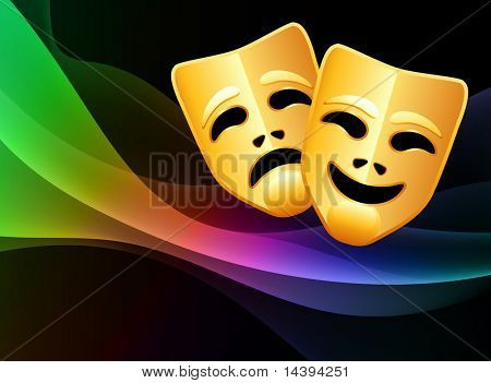 Comedy and Tragedy Mask on Abstract Background Original Vector Illustration