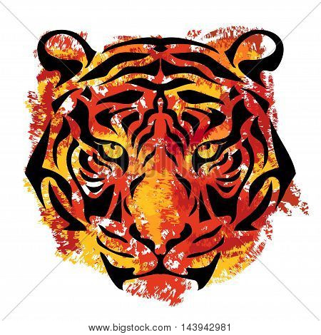 tiger's muzzle on white background with orange and yellow stripes in grunge style
