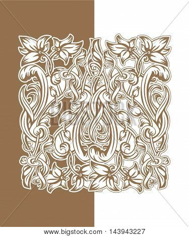 Vector vintage pattern of flowers and leaves in the Art Nouveau style
