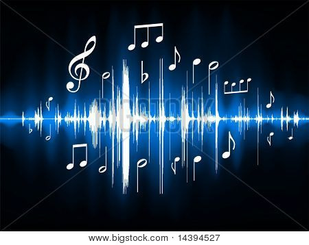 Blue Musical Notes Color Spectrum Original Vector Illustration
