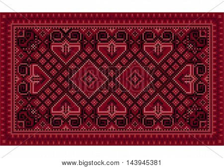 Luxurious vintage oriental carpet with maroon, red and pink shades