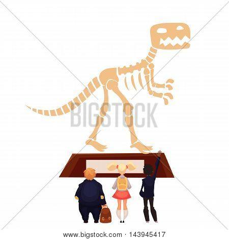 Kids in museum looking at dinosaur skeleton, cartoon style vector illustration.
