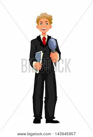 Beautiful male journalist, reporter, cartoon style illustration isolated on white background. Full height reporter, journalist taking interview