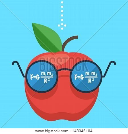 Law of gravity. Apple flies down. The formula is reflected in the glasses, the science of physics. Gravity concept. Flat design vector illustration