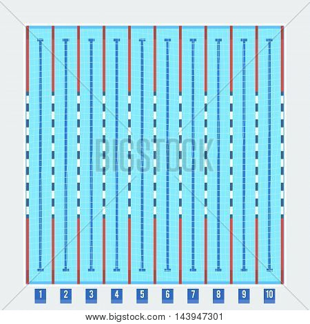 Swimming pool deep bath lanes top view flat pictogram with clean transparent blue water vector illustration