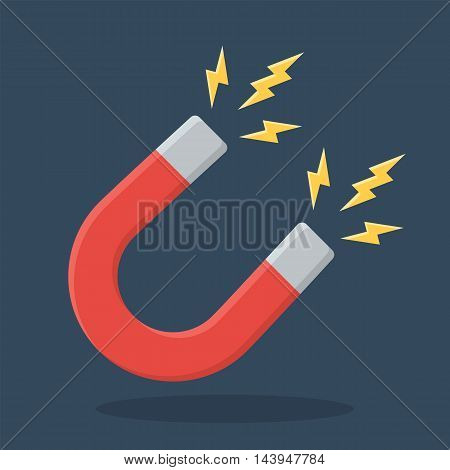 Red horseshoe magnet sign. Magnetism, magnetize, attraction concept. Flat design icon. Vector illustration on dark background with drop shadow