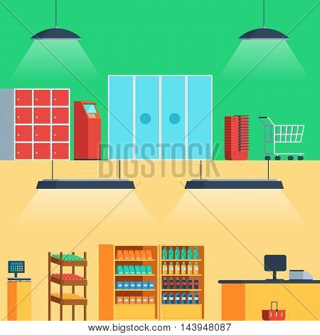 Shop, supermarket interior: entrance, showcase checkout Vector illustration in flat style for web banners and print