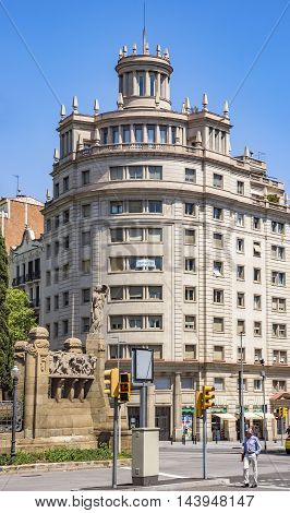 BARCELONA SPAIN - JULY 5 2016: Architecture of Verdaguer square in Barcelona Spain. Named after the Catalan-language epic poet of the Jacint Verdaguer (1845-1902).