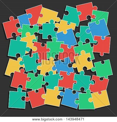 Colored pieces of the puzzle random scattered in disarray. Vector illustration for background design