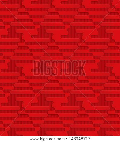 Red Triangular Waves On Checkered Background