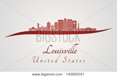 Louisville skyline in red and gray background in editable vector file