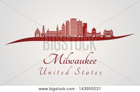 Milwaukee skyline in red and gray background in editable vector file