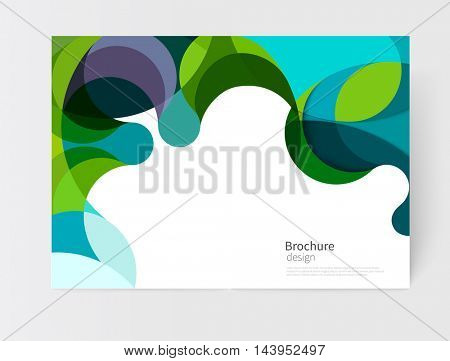 vector white business brochure cover template.modern abstract background green and blue waves .EPS 10