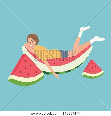 fresh water melon man sleeping relaxing above fruit lazy full vector