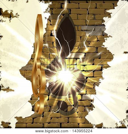 Golden treble clef with a cut in the brick wall and a bright flash. There is space for text or image. All elements of the image are made independently without reference image.