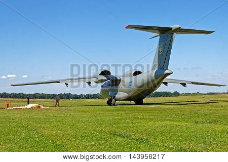 KHARKIV UKRAINE - AUGUST 20 2016: Antonov An-72 of Ukrainian National Guard parked at the airport Korotych Kharkov region Ukraine on August 20 2016