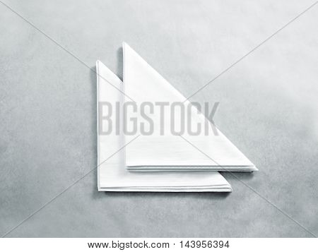 Blank white restaurant napkin mock up, isolated. Clear folded textile towel mockup design template. Cafe branding identity clean napkin surface for logo design. Cotton cloth kitchen tissue towel.