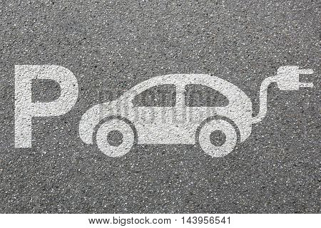 Parking Lot Sign Electric Car Park Charging Station Eco Friendly Mobility Town