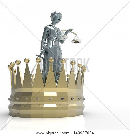 Themis goddess of justice with golden crown 3d rendering
