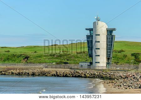 ABERDEEN SCOTLAND - JUNE 21 2016: The Marine Operations Centre at Pocra Quay in Aberdeen Scotland. Opened in 2006 it controls shipping in and out of the port one of the UK's busiest ports.