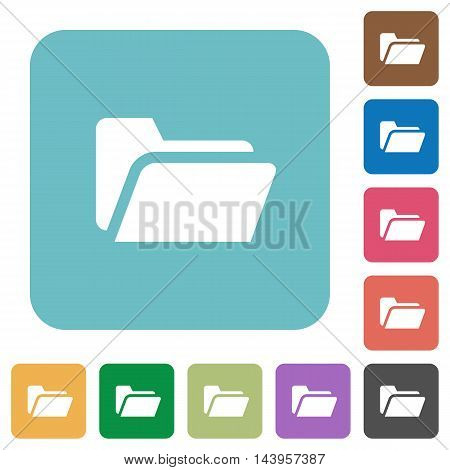 Flat folder open icons on rounded square color backgrounds.