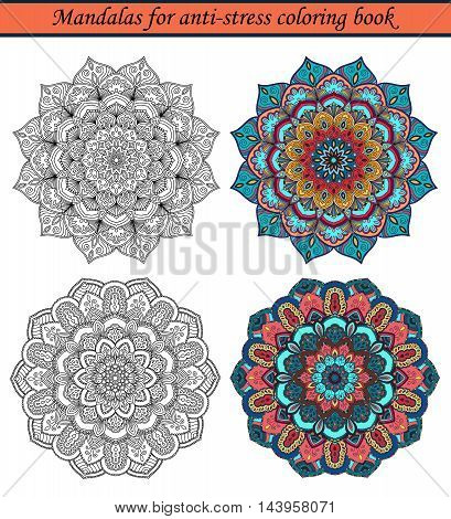 Mandalas for Anti-Stress Coloring Book. Colored samples and black outline round ornaments for relaxing drawing. Boho decorative design elements. Stylized flower. Intricate floral pattern. Vector decor