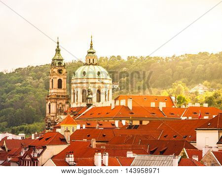 Robust baroque dome of St. Nicholas Cahtedral in Lesser Town of Prague, Czech Republic