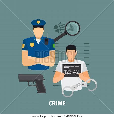 Law concept with crime. Policeman and criminal vector illustration