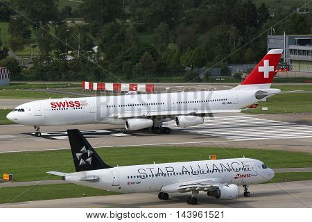 Swiss Air Lines Airbus A340-300 Airplane Zurich Airport