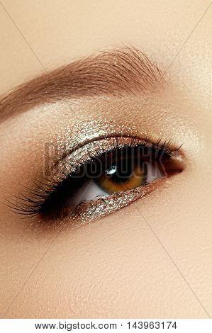 Perfect Shape Of Eyebrows, Brown Eyeshadows And Long Eyelashes.
