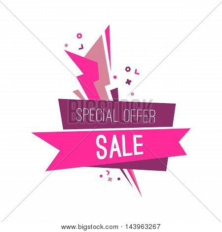 Colorful advertising flashed special sale banner, vector flat illustration