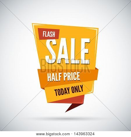 Colorful advertising flash sale banner. Half price. Today only. Vector illustration.