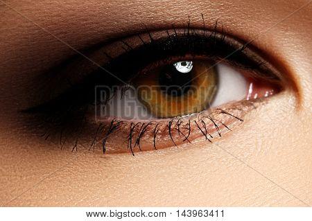 Beautiful Macro Shot Of Female Eye With Classic Smoky Makeup Wit