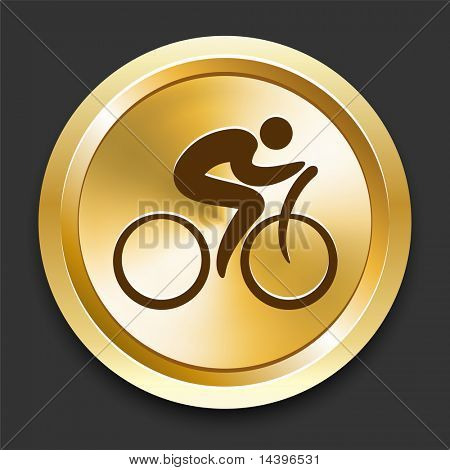 Cyclist on Golden Internet Button Original Illustration