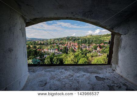 View from Bran Castle known as Dracula's Castle near Bran in Romania