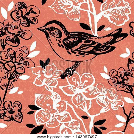 Vintage seamless floral pattern. Hand drawn illustration with bird and butterfly
