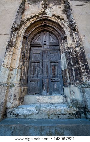 Side door of Saint Mary Lutheran Cathedral in Sibiu city in Romania poster