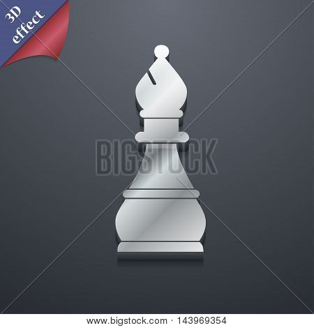 Chess Bishop Icon Symbol. 3D Style. Trendy, Modern Design With Space For Your Text Vector